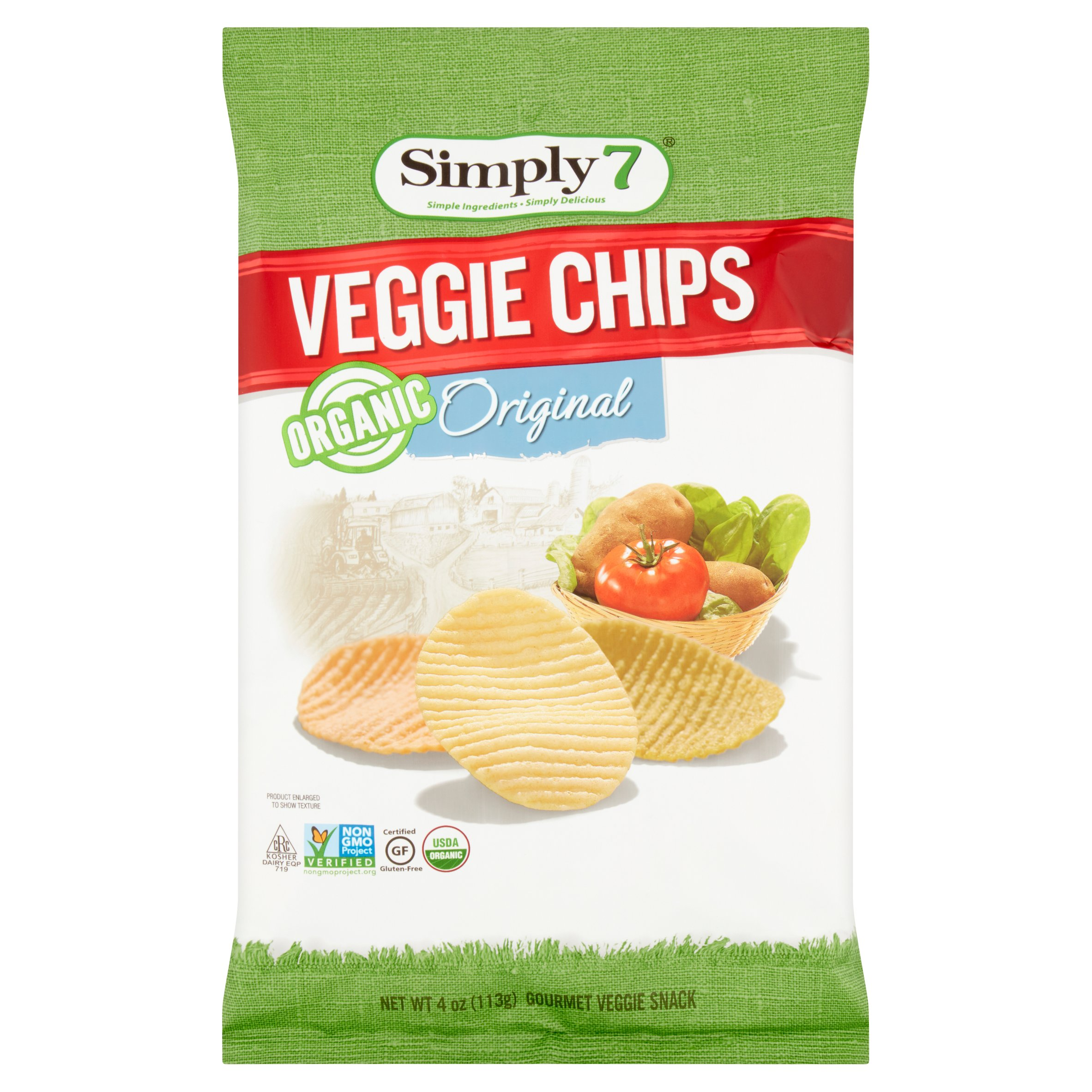 Simply7 Organic Original Veggie Chips, 4 oz, 12 pack