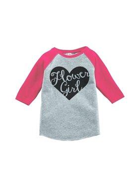 9b1dec91 Product Image Custom Party Shop Baby Girl's Black Heart Flower Girl Wedding  Raglan Tee - Small (6