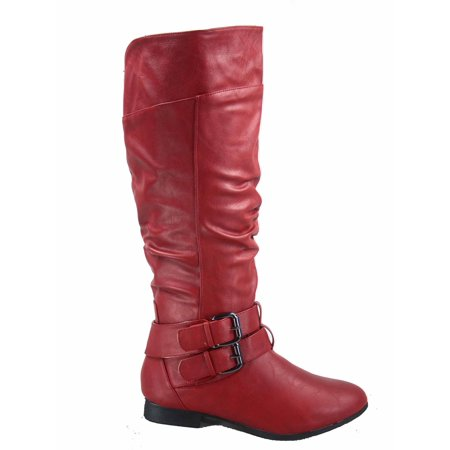 Coco-20 Women's Fashion Buckles Low Heel Round Toe Zipper Knee High Riding Boots](Brown Costume Boots)
