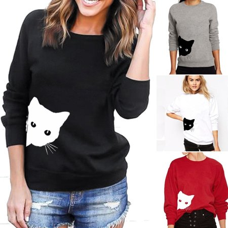 Womens Autumn and Winter Long Sleeve Cat Printed Loose Fleece Sweater T-shirt ()