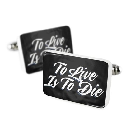 Cufflinks Classic design To Live Is To Die Porcelain Ceramic NEONBLOND
