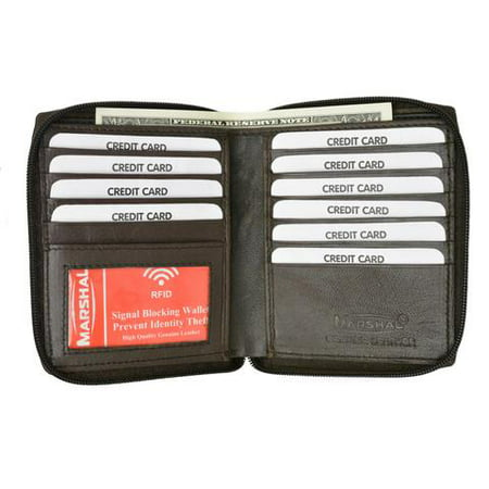 RFID Blocking Mens Premium Soft Leather Zippered ID Wallet RFID P 702