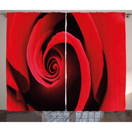 Rose Curtains 2 Panels Set, Extreme Close Up of Red Rose Bloom Swirled Spiral Petals Beauty in Nature Theme, Window Drapes for Living Room Bedroom, 108W X 84L Inches, Vermilion Black, by Ambesonne