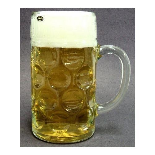 1 Liter Plain German Glass Dimple Beer Mug