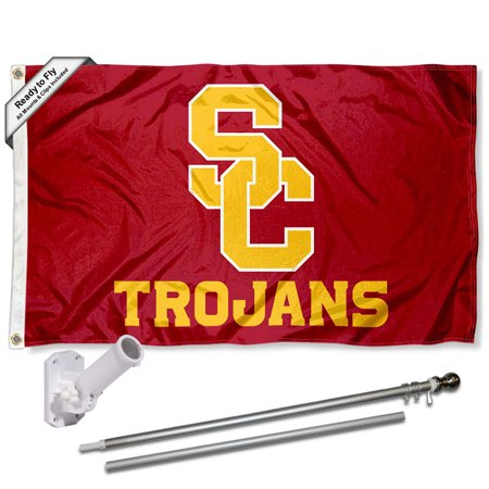 Southern Cal USC Trojans SC Logo 3x5 Flag and Accessory Kit