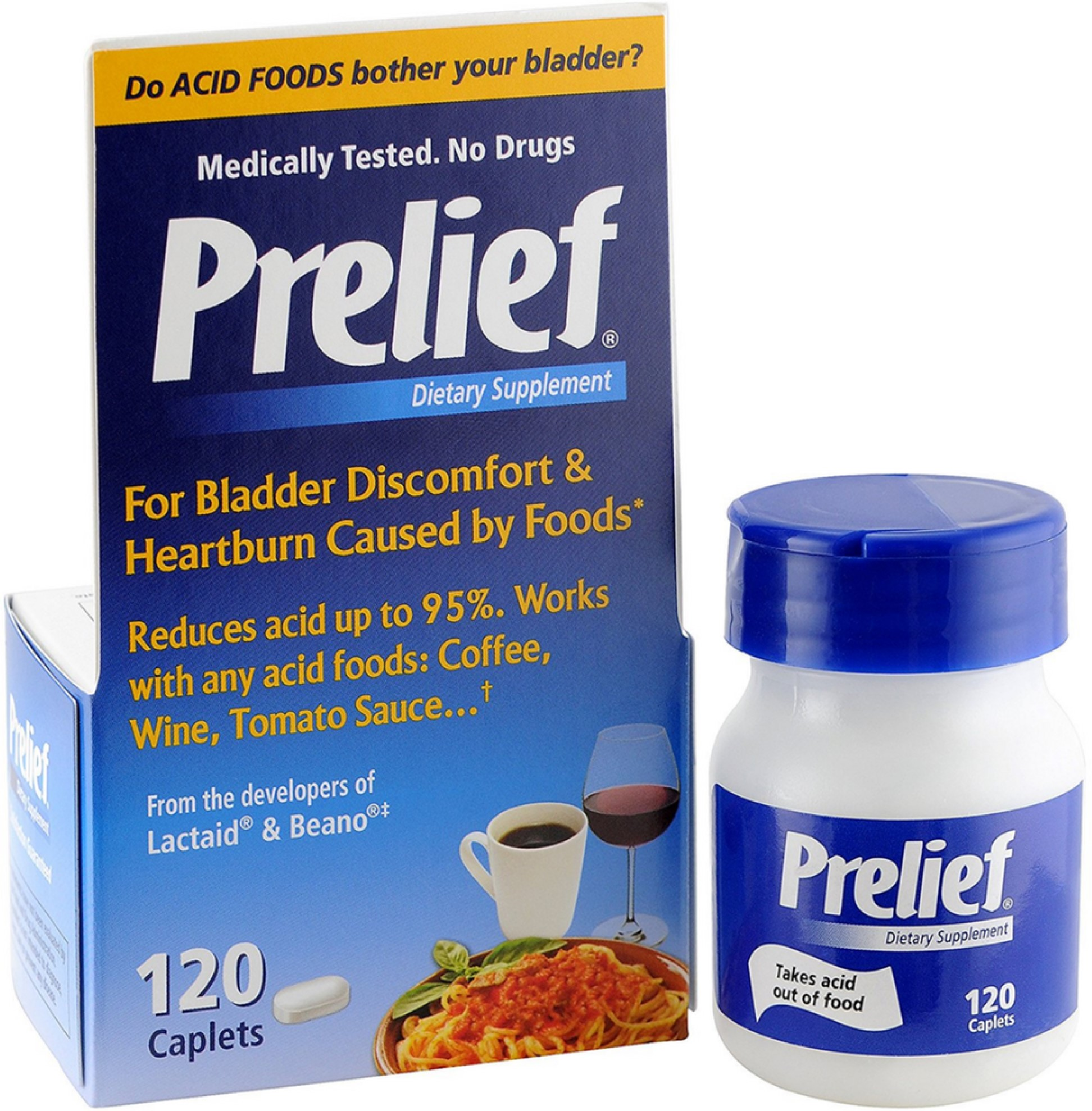 Prelief Acid Reducer Dietary Supplement Caplets 120 ea (Pack of 3)