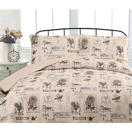 Country Farmhouse & Barn: Rustic Roosters Taupe & Tan King Quilt & Shams (3 Piece Set) ()
