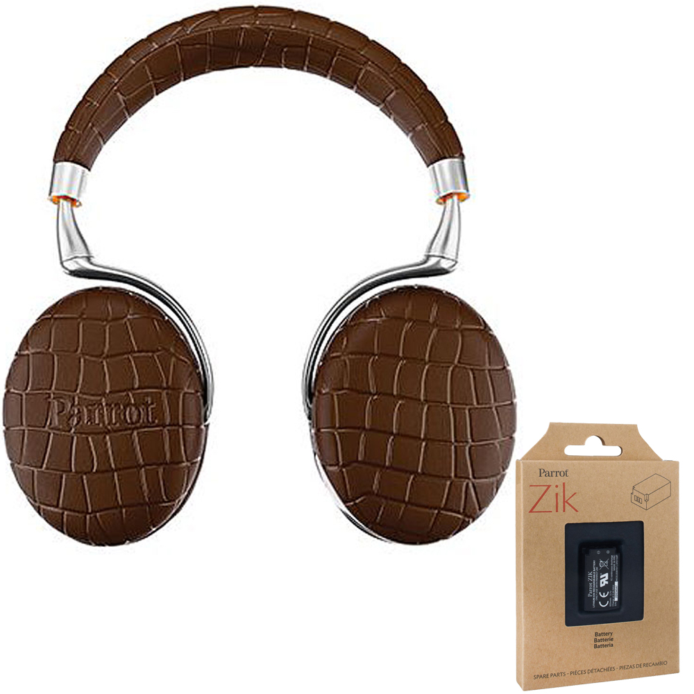 Parrot Zik 3 Wireless Noise Cancelling Touch Control Bluetooth Headphones (Brown Croc)