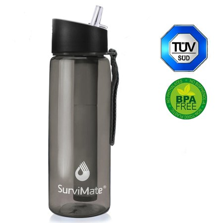 SurviMate Filtered Water Bottle BPA Free with 4-Stage Intergrated Filter Straw for Camping, Hiking, Backpacking and Travel Purified water bottles Black