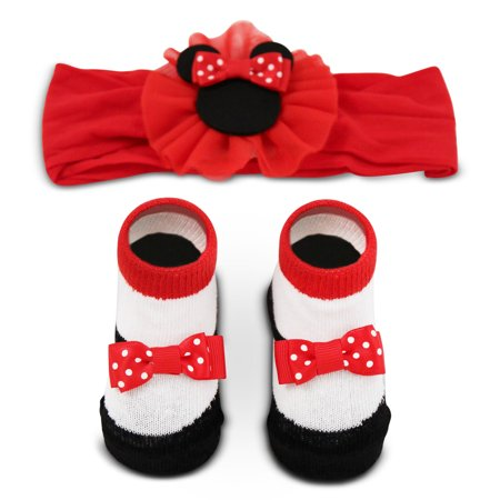 Disney Minnie Mouse Headwrap and Booties Gift Set, Baby Girls, Ages 0-12M](Disney Slippers)