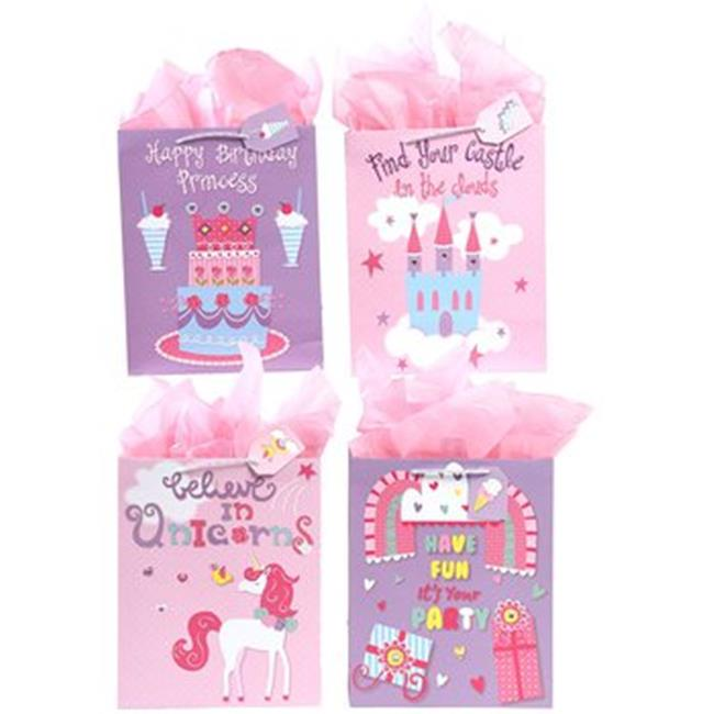 Extra Large Matte Finish with Gems Pink and Purple Unicorn Party Birthday Gift Bag - 108 Units