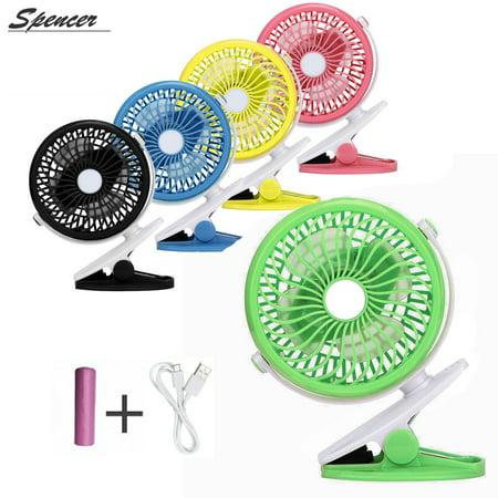 Spencer 360° Portable Mini Rotation Clip Fan Rechargeable USB Desk Fan for Baby Stroller & Car,Black