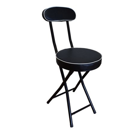 storage solutions folding stool with extra thick cushion and back rest with powder coated steel. Black Bedroom Furniture Sets. Home Design Ideas