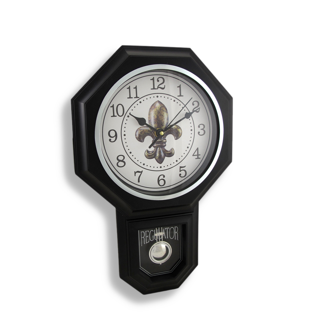 Black Fleur De Lis Pendulum Wall Clock