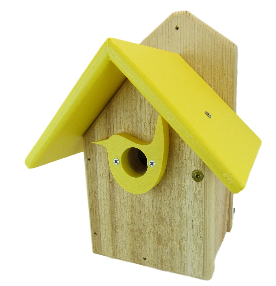 Post Mount Cedar Wren House w Yellow Poly Roof & Birdhouse Predator Guard Portal by Bird Houses