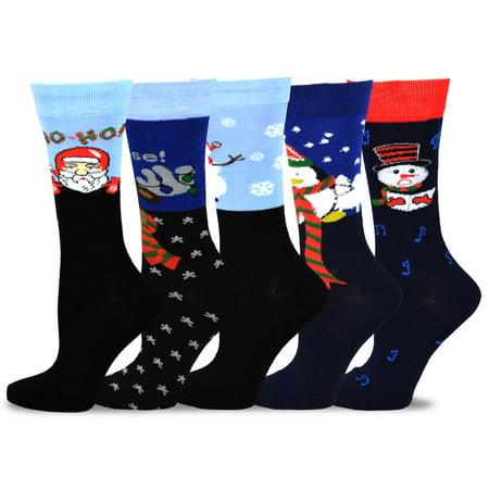 Teehee Christmas And Holiday Fun Crew Socks For Women 5 Pack  Ho Ho Ho Snow Man Penguin