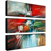 "Trademark Fine Art ""Cube Abstract IV"" Canvas Art by Rio, 3-Piece Panel Set, 10x32"