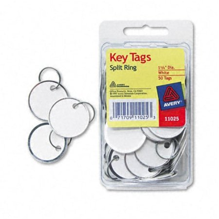 : Metal Rim Key Tags, Card Stock/Metal, White, 50 per Pack -:- Sold as 2 Packs of - 50 - / - Total of 100 EachAvery : Metal Rim Key Tags, Card.., By Avery : Metal Rim Key Tags, Card Stock/Metal, White, 50 per Pack  Keep track of your keys with these handy, sturdy tags. Each tag features a split ring that slides easily onto your key for fast, convenient organization. White card stock center offers write-on convenience. Metal rim is durable and won`t tear. Global Product Type: Tags-Key; Tags Type: Key; Shape: Round; Depth: N/A.:Manufactured by.: