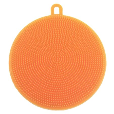 Magic Silicone Dish Bowl Cleaning Brush Multifunction Scouring Pad Pot Pan Wash Brushes Kitchen Cleaner Washing Tool (Orange) (Pots And Pans Cleaner)