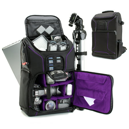(Digital SLR Camera Backpack (Purple) with 15.6