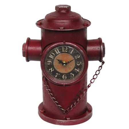 Red Fire Plug Hydrant Clock Fireman Firefighter Gift FD Dept Department Decor