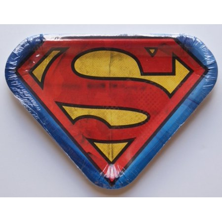 Superman Logo Novelty Shaped Dinner Party Plates - Package of - Superman Party Decorations