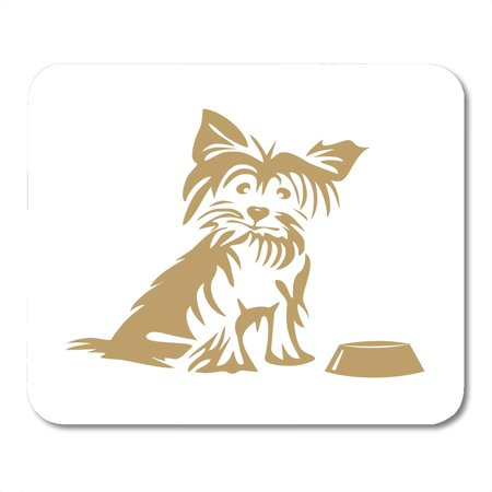 KDAGR Breed Black Hairy Yorkshire Terrier and Bowl White Clipart Mousepad Mouse Pad Mouse Mat 9x10 inch