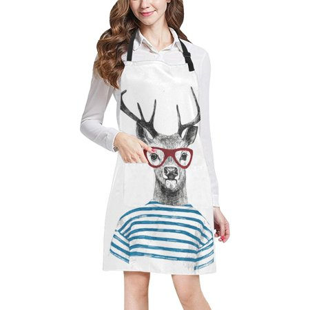 ASHLEIGH Dressed Up Deer Hipster Adjustable Bib Apron with Pockets Commercial Restaurant and Home Kitchen Apron for Women