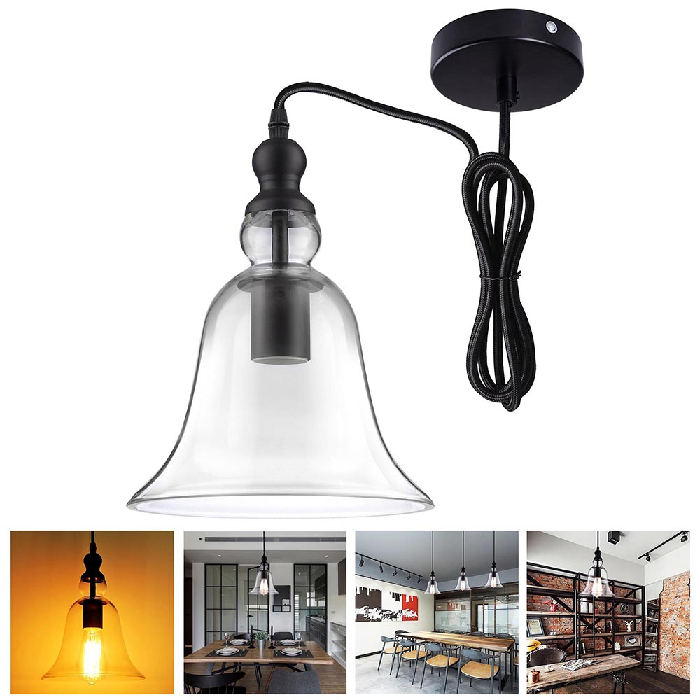 "Yescom 8.3"" Hanging Tinkle Bell Glass Shade Vintage Pendent Fixture for Ceiling Lamp Light"