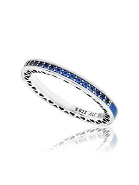 Radiant Hearts of , Princess Blue Enamel & Royal Blue Ring sz 48 191011NCB-48