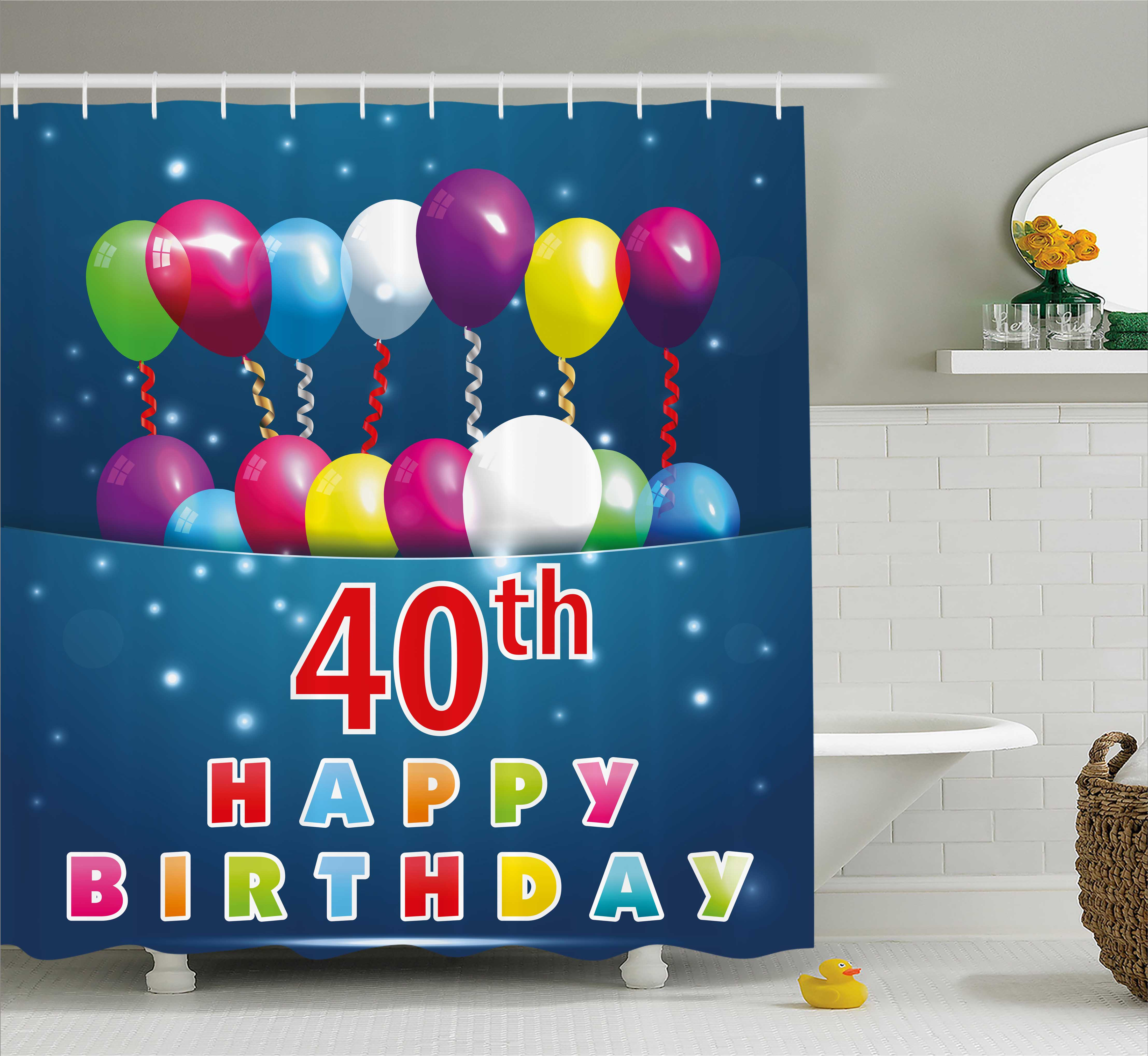 40th Birthday Decorations Shower Curtain, Special Day Surprise Occasion Party Colorful Balloons Ribbons, Fabric Bathroom Set with Hooks, 69W X 70L Inches, Multicolor, by Ambesonne