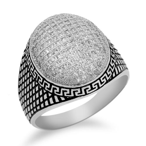 .925 Sterling Silver 1.54 Ct Round White Zirconia Men's Ring Father's Day Gift