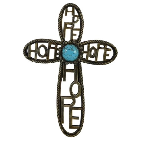 Pine Ridge Western Hope Wall Hanging Cross Turquoise Heart Centerpiece by Beautifully Hand Painted - Rustic Art Cross Home