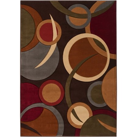 - Contemporary Majestic Collection Area Rug in Burnt Sienna, Espresso and Rectangle Shape