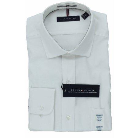 Tommy Hilfiger Mens Long Sleeve Regular Fit Dress Shirt (White, 18-18 1/2 X 36/37)