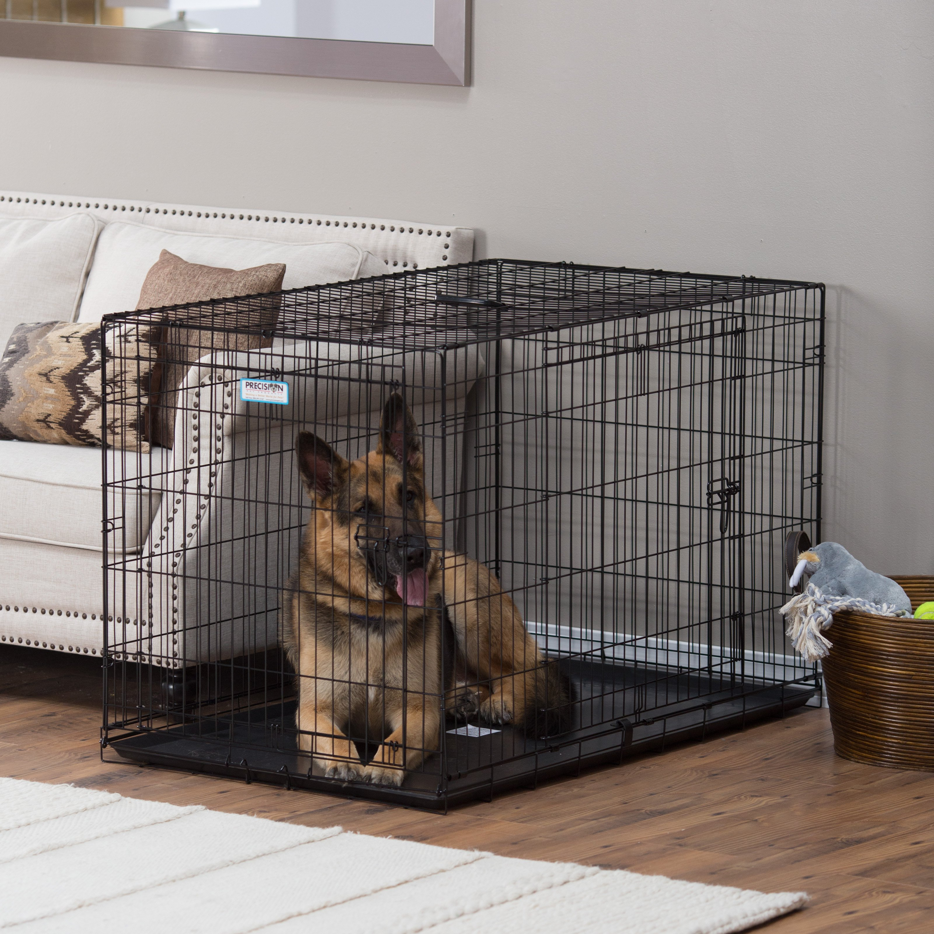 Precision Provalu Great Crate Double Door Dog With Free Pad Black