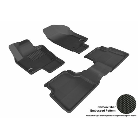3D MAXpider 2009-2017 VW Tiguan Front & Second Row Set All Weather Floor Liners in Black with Carbon Fiber