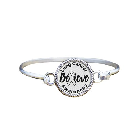 Lung Cancer Awareness Believe Silver Plated Bracelet Jewelry](Lung Cancer Jewelry)