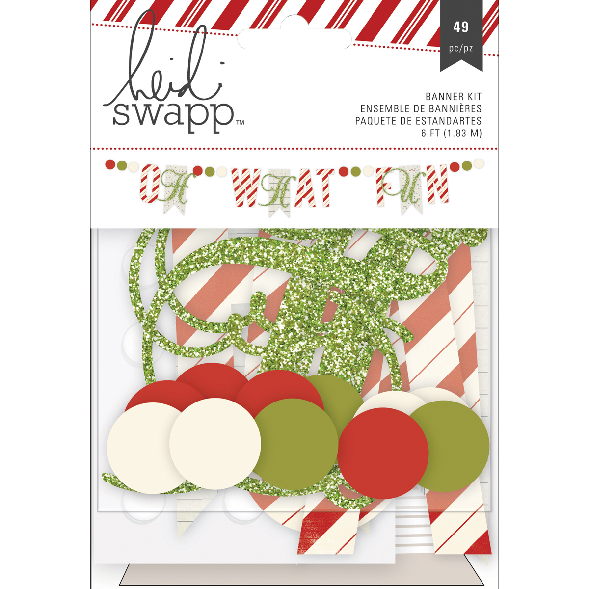 Heidi Swapp Oh What Fun Cardstock Banner Kit-Green Glitter Oh What Fun
