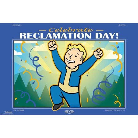 - Fallout 76 - Gaming Poster / Print (Celebrate Reclamation Day! - Vault-Boy) (Size: 36