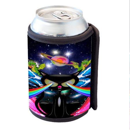 KuzmarK Insulated Drink Can Cooler Hugger - Kitty Cat Rainbow Laser Eyes - Rainbow Dash 20 Cooler