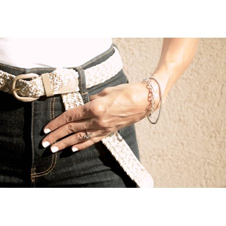 Unisex Braided Elastic Woven Stretch Belt with Genuine Leather Buckle Grey Color - Gray Woven Leather