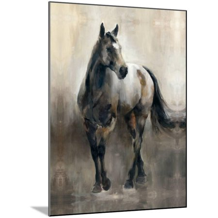 Copper and Nickel Neutral Equestrian Horse Painting Wood Mounted Print Wall Art By Marilyn Hageman