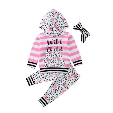 Infant Baby Girl Fall Winter Striped Cotton Hoodie Floral Pants 5Pcs Outfits Set](Winter Soldier Outfit)