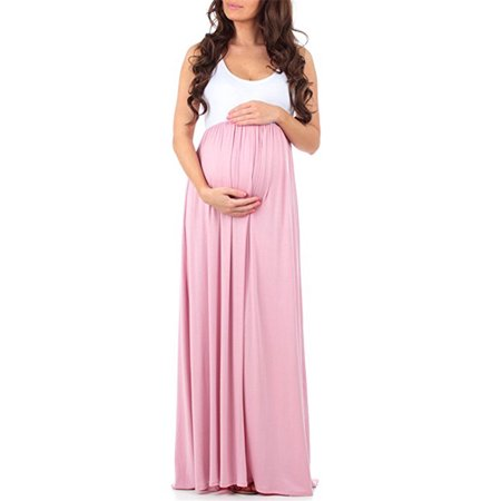 Women's Maternity Maxi Long Shirt Dress Photography Photo Shoot Pregnant Props (Maternity Pink Dress)
