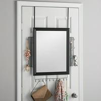 "Mainstays 19"" x 23"" Over-the-Door Multi-Function Mirror, Black,"