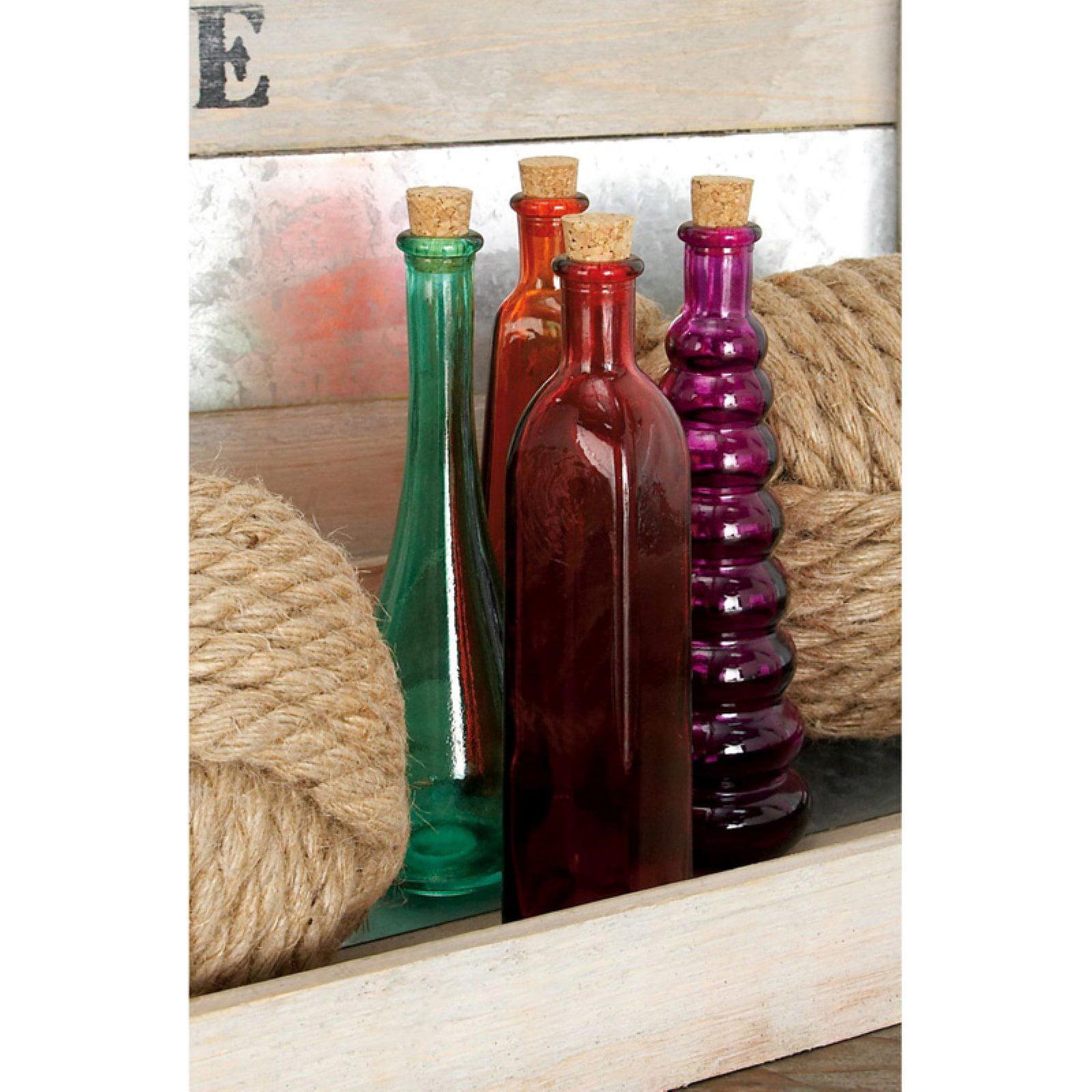 Decmode Glass Stopper Bottle, Set of 4, Multi Color