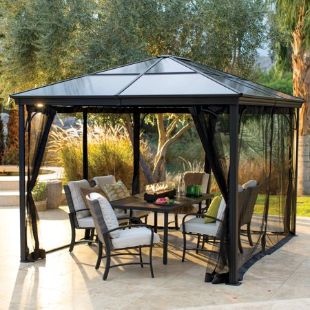 Belham Living Augusta 10 x 12 ft. Gazebo with Polycarbonate Top and Insect - Metal Plastic Gazebo