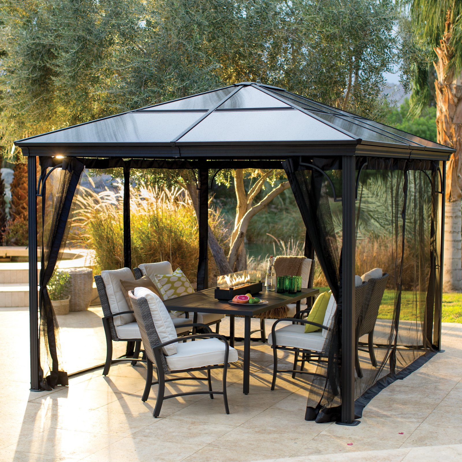 Belham Living Augusta 10 x 12 ft. Gazebo with Polycarbonate Top and Insect Netting by