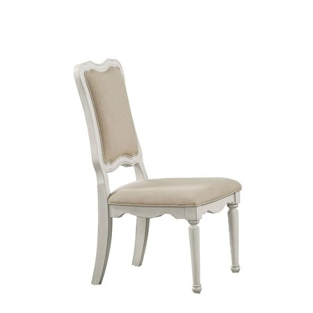 Benzara Linen Fabric Upholstery Armless Chair, Beige And Antique